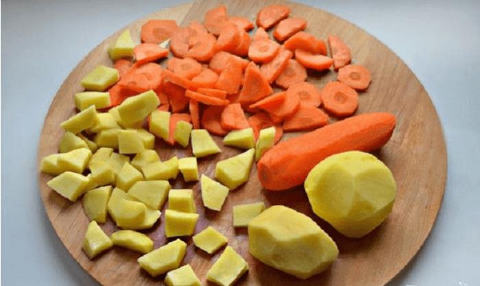 Нарезка из картофеля и моркови