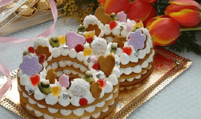 Торт цифра из медовых коржей