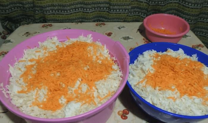 Капусту порежьте, морковь пропустите через крупную терк