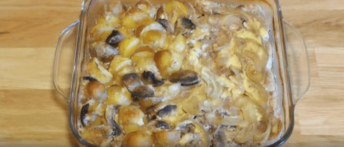 Картошка с мясом грибами и сыром в духовке – картинка