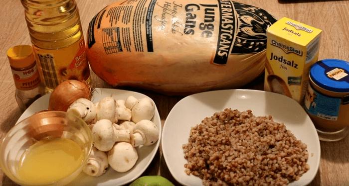 Гусь с гречкой и грибами – ингредиенты