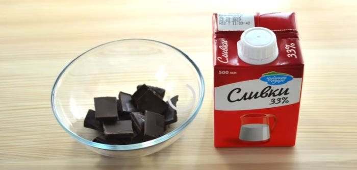 Смешивание шоколада со сливками