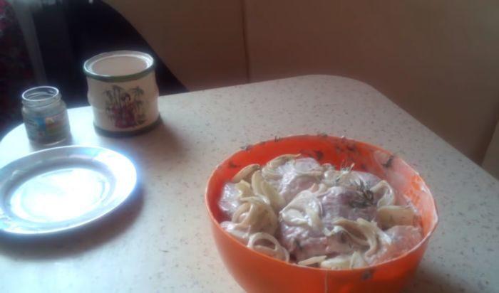 Маринад для шашлыка из курицы с майонезом и луком — картинка