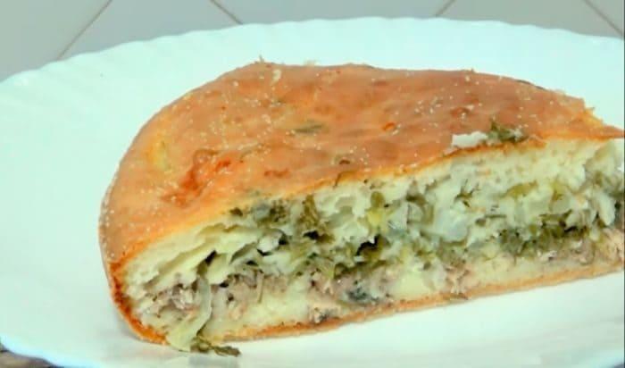 Заливной пирог с рыбой на кефире
