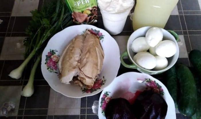 Ингредиенты для окрошки со свеклой на кефире