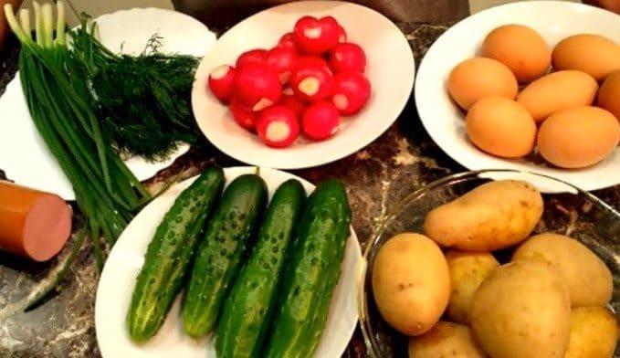 Ингредиенты для окрошки на кефире и квасе